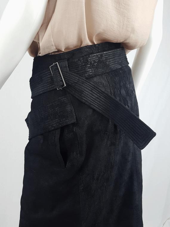 vintage Haider Ackermann black leather wrap skirt spring 2011 153120