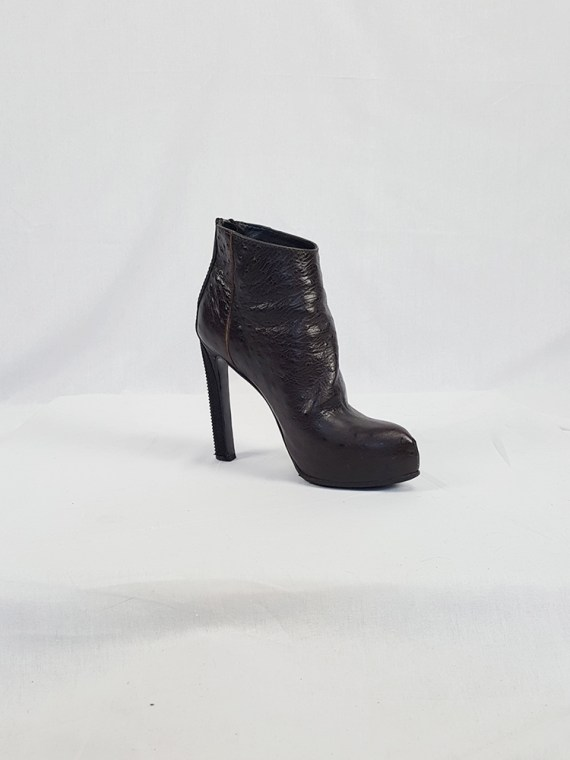 vintage Haider Ackermann brown ankle boots with back zipper fall 2010 102227
