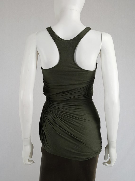 vintage Haider Ackermann green asymmetric pleated racerback top fall 2008 140324