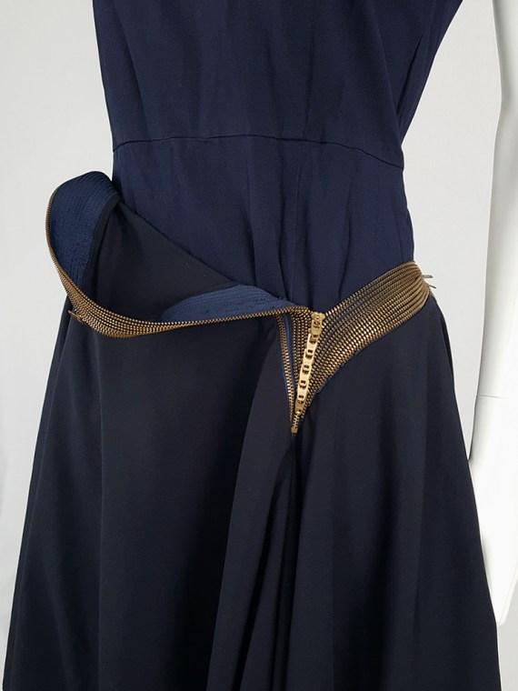 vintage Junya Watanabe blue asymmetric skirt with multi zipper waist spring 2005 111302
