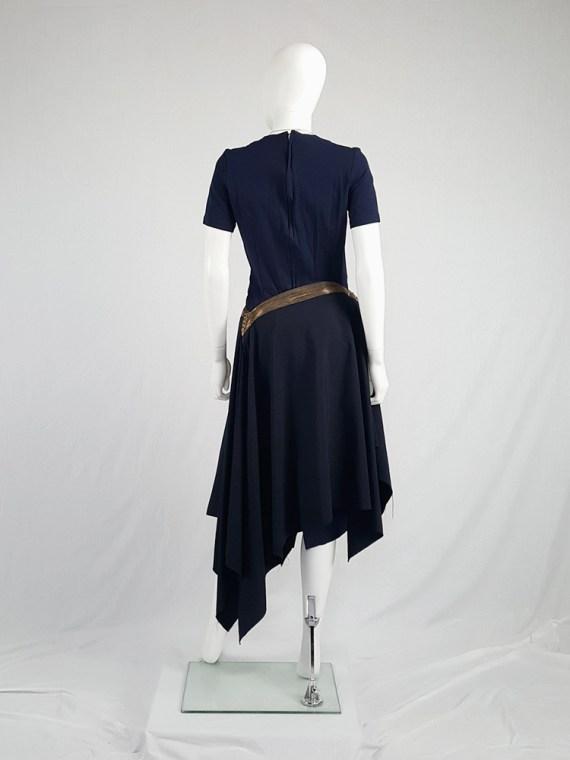 Junya Watanabe blue asymmetric skirt with multi zipper waist — spring 2005