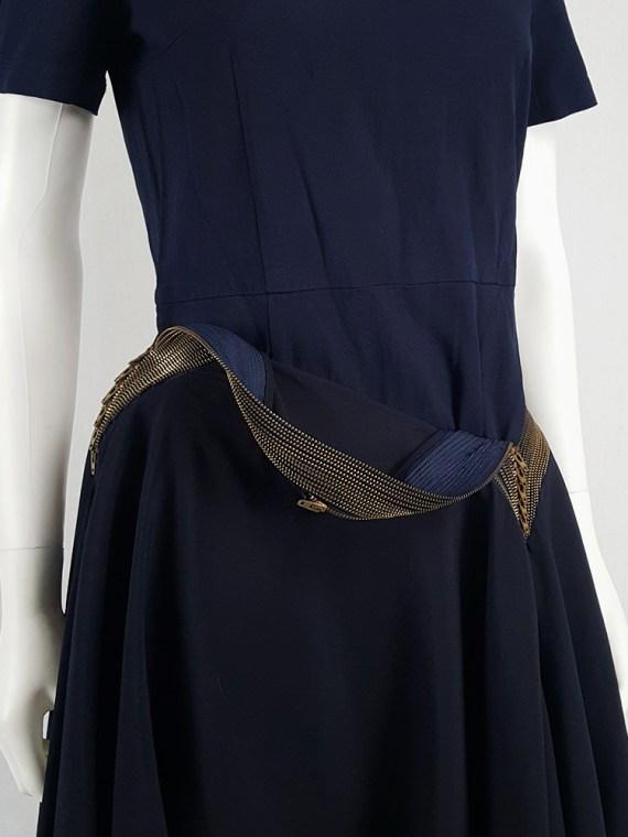 vintage Junya Watanabe blue asymmetric skirt with multi zipper waist spring 2005 112029