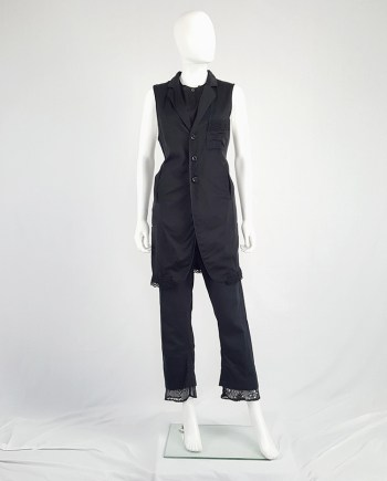 Y's Yohji Yamamoto black long vest with lace trimmings
