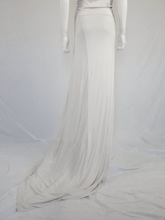 vintage AF Vandevorst white maxi dress with asymmetric open back spring 2011 115109
