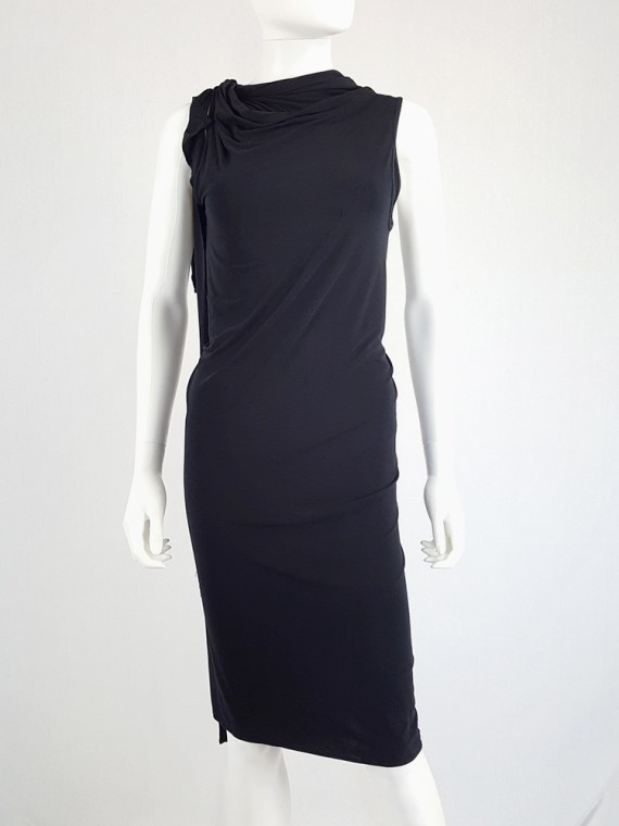 vintage Ann Demeulemeester black triple wrapped dress with 5 armholes spring 1998 091547