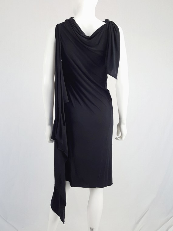 vintage Ann Demeulemeester black triple wrapped dress with 5 armholes spring 1998 092112