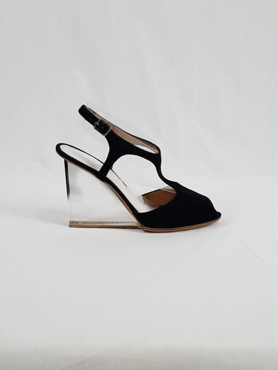 vintage Maison Martin Margiela black sandals with clear heels spring 2007 194332