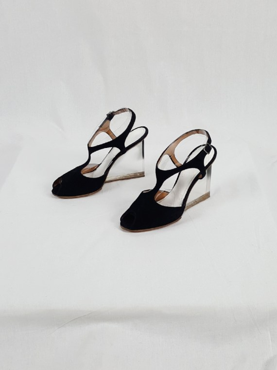 vintage Maison Martin Margiela black sandals with clear heels spring 2007 194543