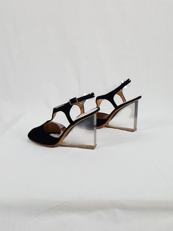 vintage Maison Martin Margiela black sandals with clear heels spring 2007 194729