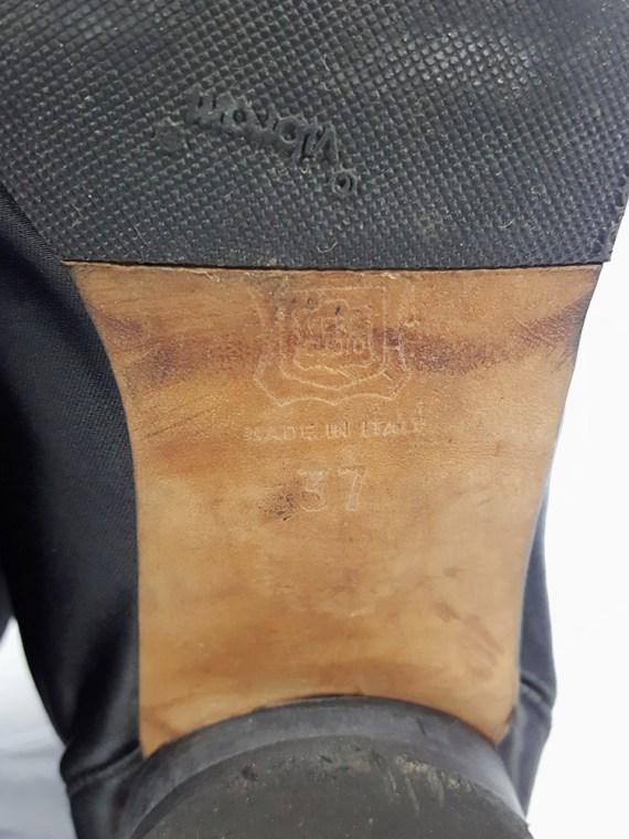 vintage Maison Martin Margiela black satin tabi boots with low heel fall 1998 105549