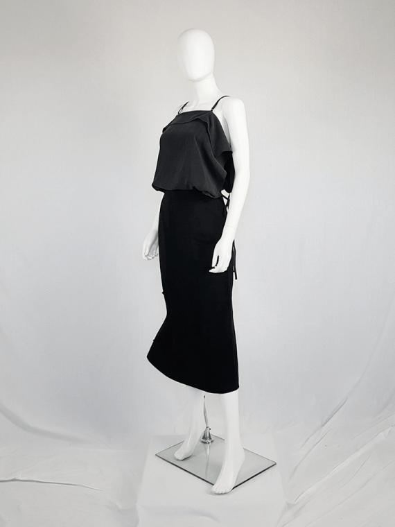 vintage Yohji Yamamoto black structured skirt with sideways curve 094416