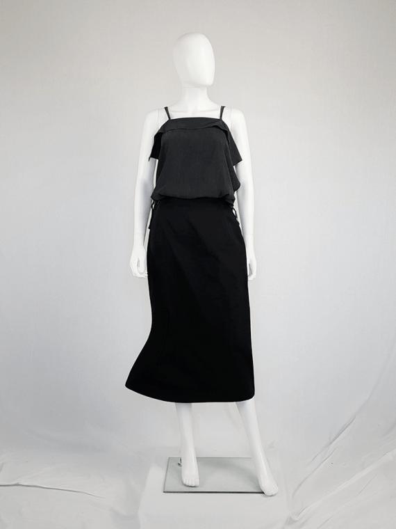 vintage Yohji Yamamoto black structured skirt with sideways curve 094559