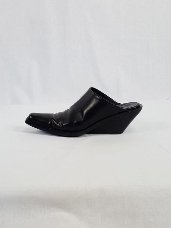 vintage Ann Demeulemeester black mules with slanted heel spring 2001 120512