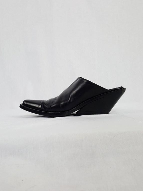 vintage Ann Demeulemeester black mules with slanted heel spring 2001 121136