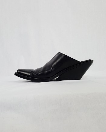 Ann Demeulemeester black mules with slanted heel — spring 2001