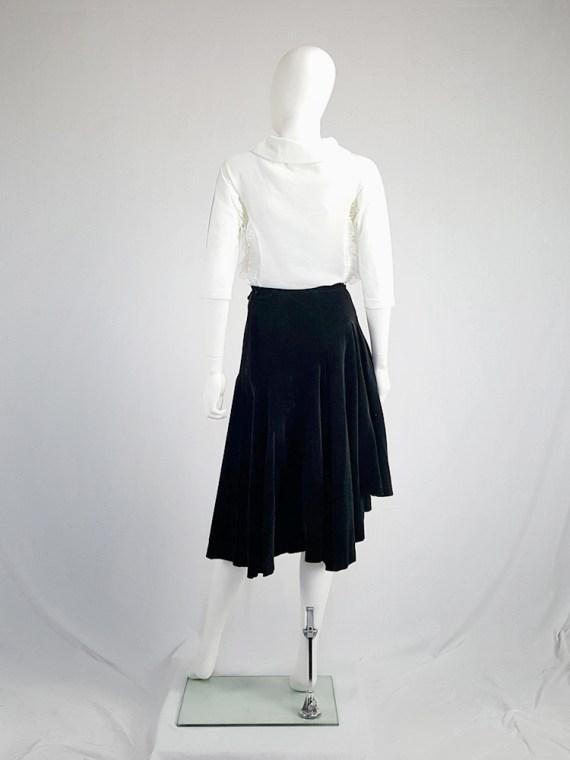 Comme des Garçons black velvet asymmetric skirt — fall 1988
