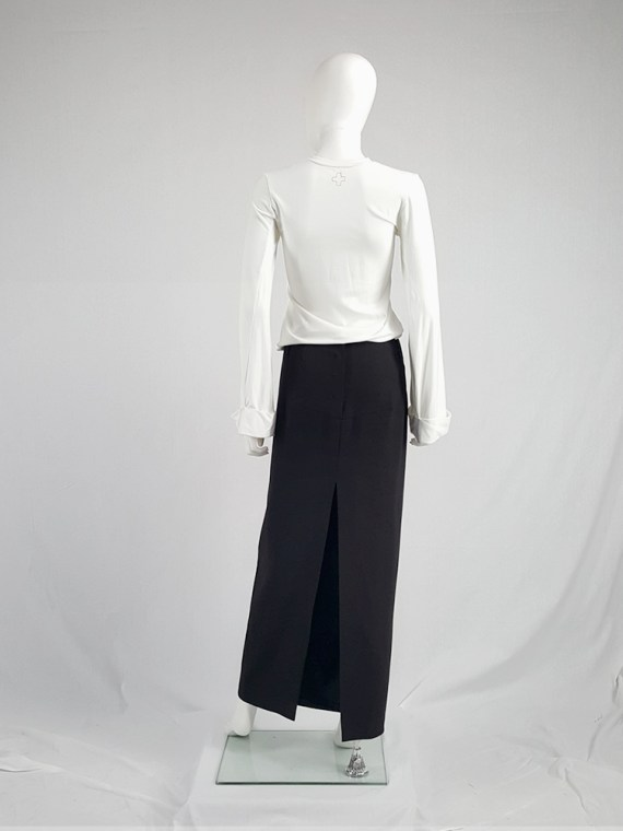 vintage Maison Martin Margiela black maxi skirt with back slit fall 1998 1327