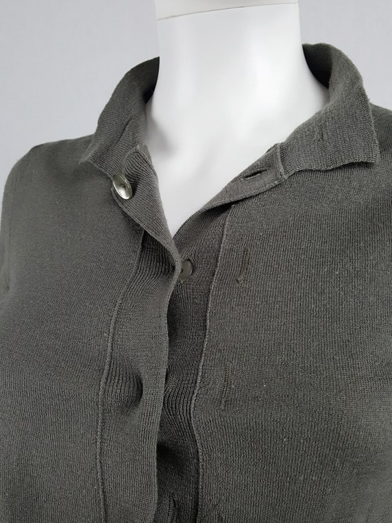 vintage Maison Martin Margiela green inside out button up cardigan spring 2004 200843(0)