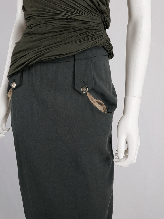Maison Martin Margiela green skirt with exposed pocket lining — fall 2003