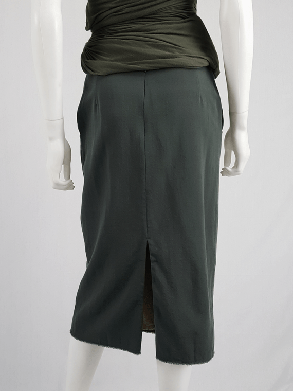 vintage Maison Martin Margiela green skirt with exposed pocket lining fall 2003 200429