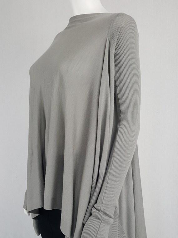 Rick Owens MOODY grey long jumper with back drape — fall 2014