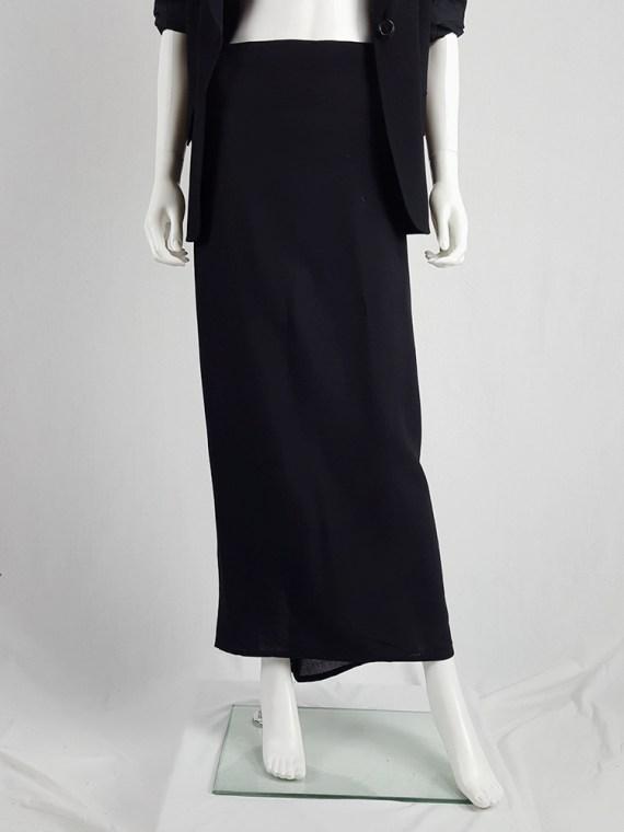 vintage Ann Demeulemeester black maxi skirt with back wrap 230835