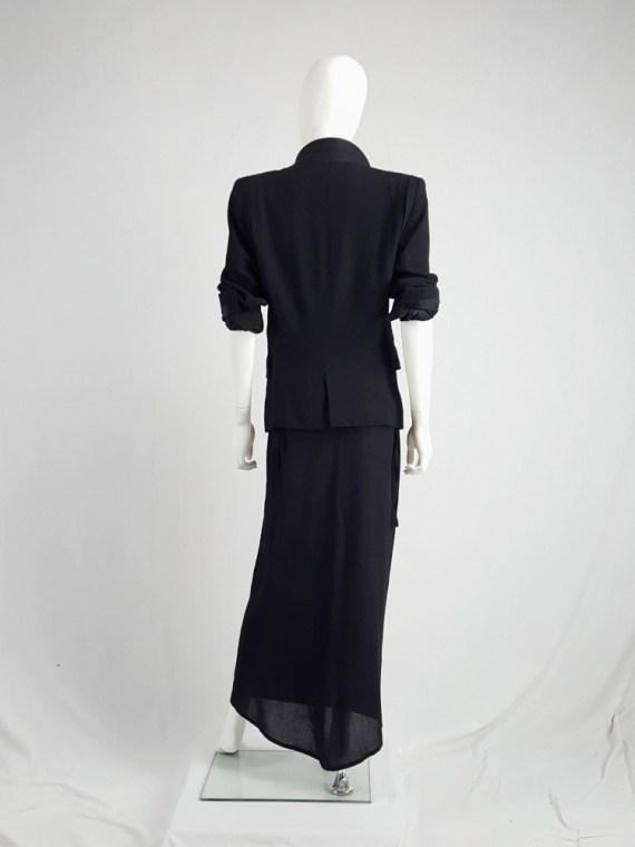 vintage Ann Demeulemeester black maxi skirt with back wrap 230954