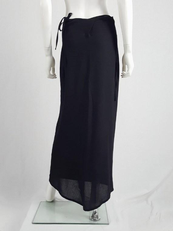 vintage Ann Demeulemeester black maxi skirt with back wrap 231205