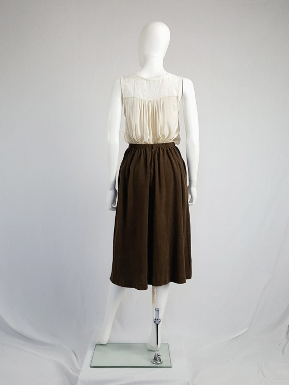 vintage Comme des Garcons brown pleated skirt in towel fabric 1970s 1980s110428