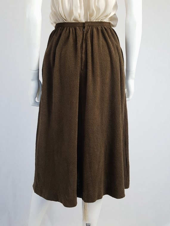 vintage Comme des Garcons brown pleated skirt in towel fabric 1970s 1980s110443