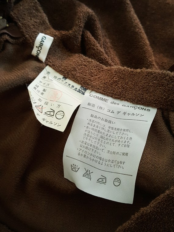 vintage Comme des Garcons brown pleated skirt in towel fabric 1970s 1980s110959
