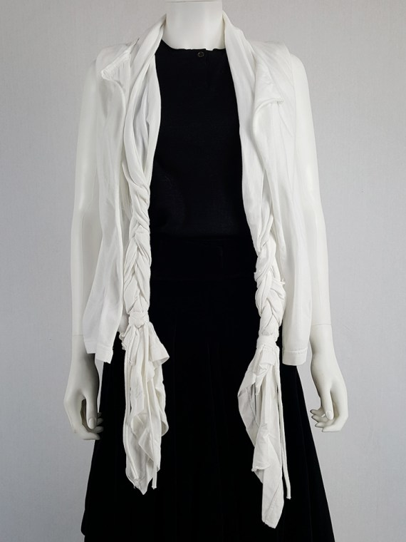 vintage Comme des Garcons white vest with oversized braids spring 2003 120321(0)
