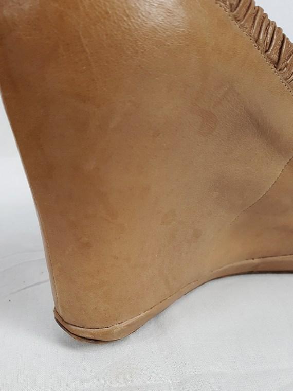 vintage Dries Van Noten beige wedges covered in one piece of leather 133343
