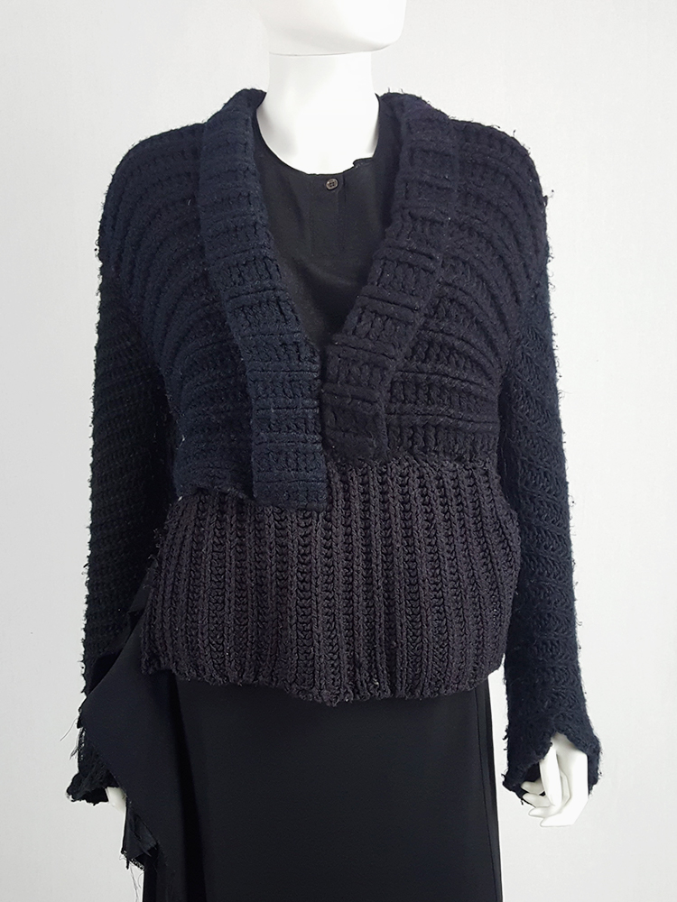 vintage Maison Martin Margiela artisanal black jumper made of scarves and jumpers 212335