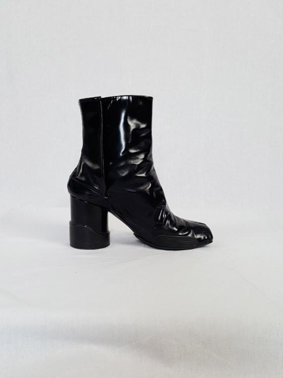 vintage Maison Martin Margiela black patent techno tabi boots fall 2014 134103
