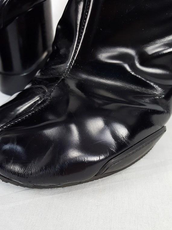 vintage Maison Martin Margiela black patent techno tabi boots fall 2014 134439