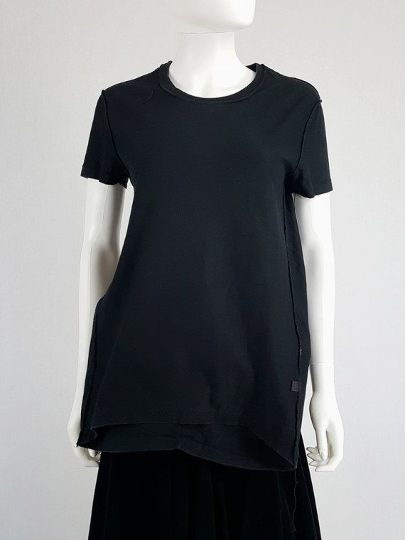 vintage Maison Martin Margiela black t-shirt hanging on the front of the body spring 2003 121317