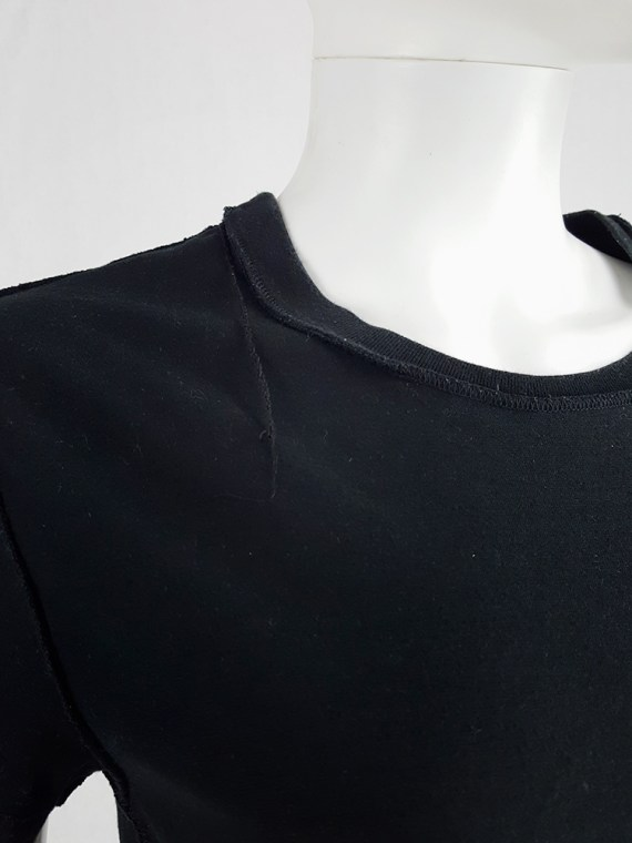 vintage Maison Martin Margiela black t-shirt hanging on the front of the body spring 2003 121340(0)
