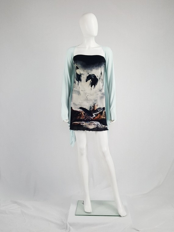 vintage Maison Martin Margiela mint green cardigan with integrated sleeves runway spring 2008 104004(0)