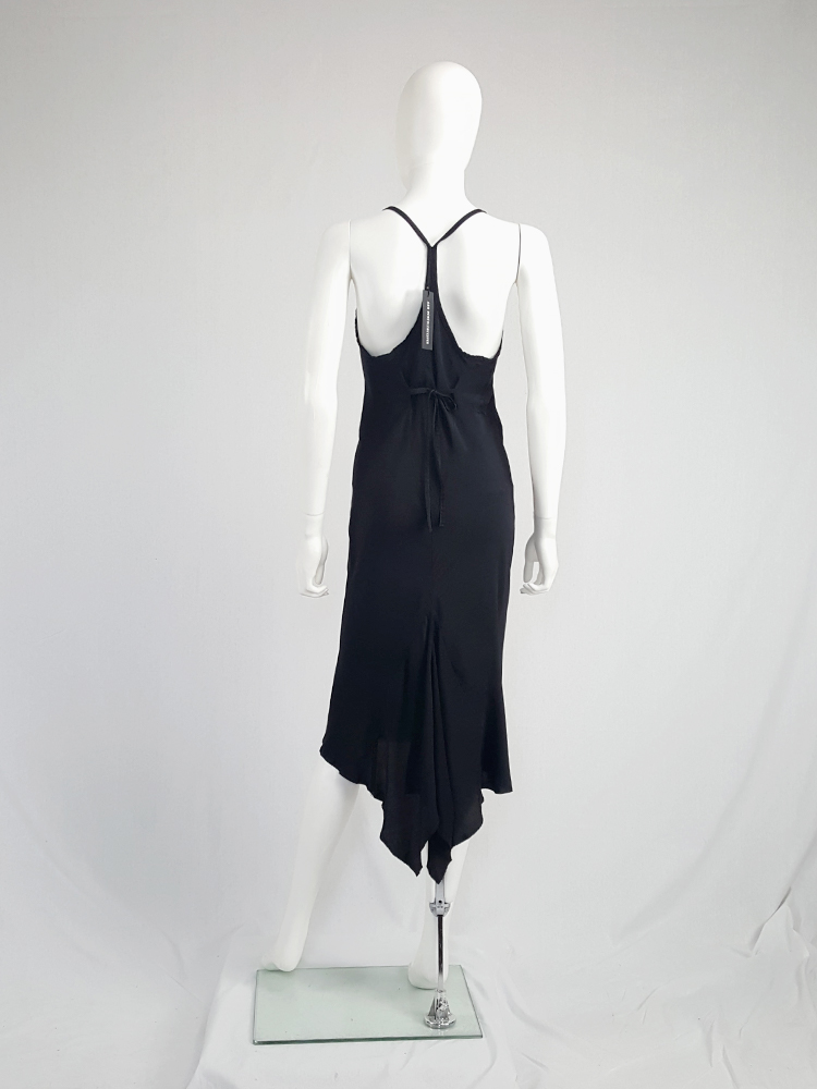 Ann Demeulemeester black strappy dress with mermaid skirt — spring 2007