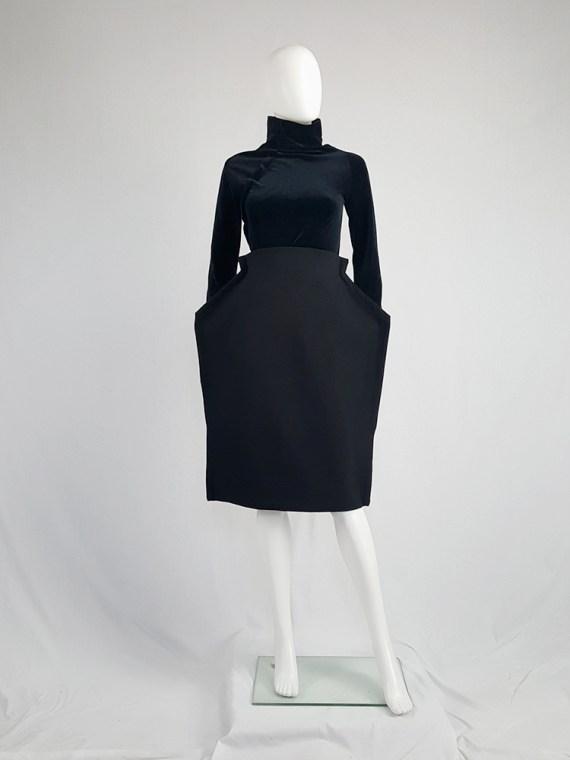 vintage Comme des Garcons black 2D paperdoll skirt fall 2012 110905