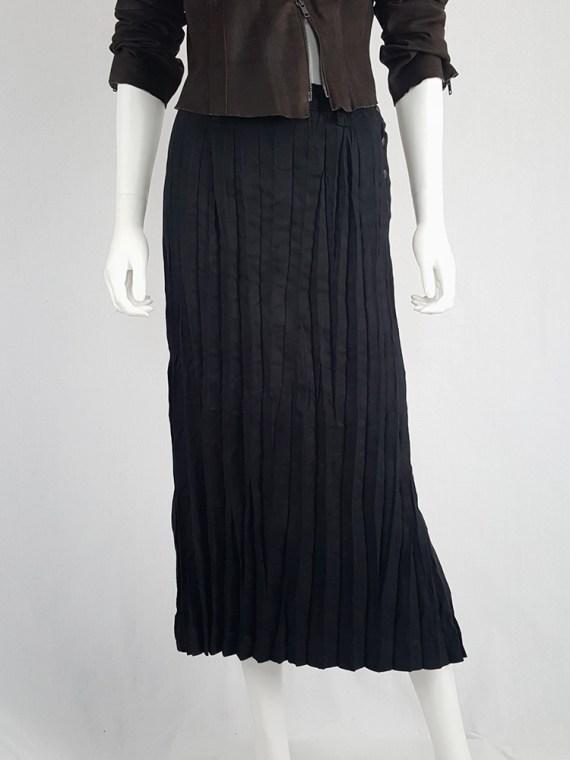vintage Issey Miyake Fete black suede pleated maxi skirt 130435