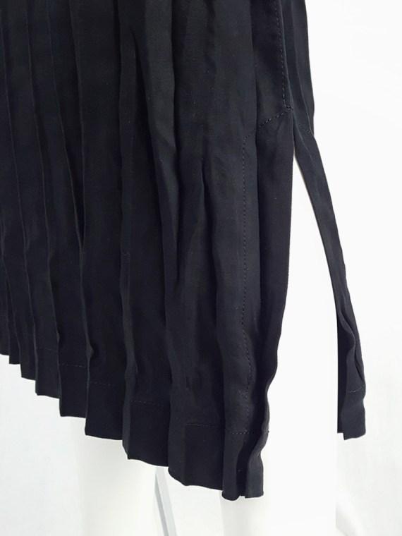 vintage Issey Miyake Fete black suede pleated maxi skirt 130643