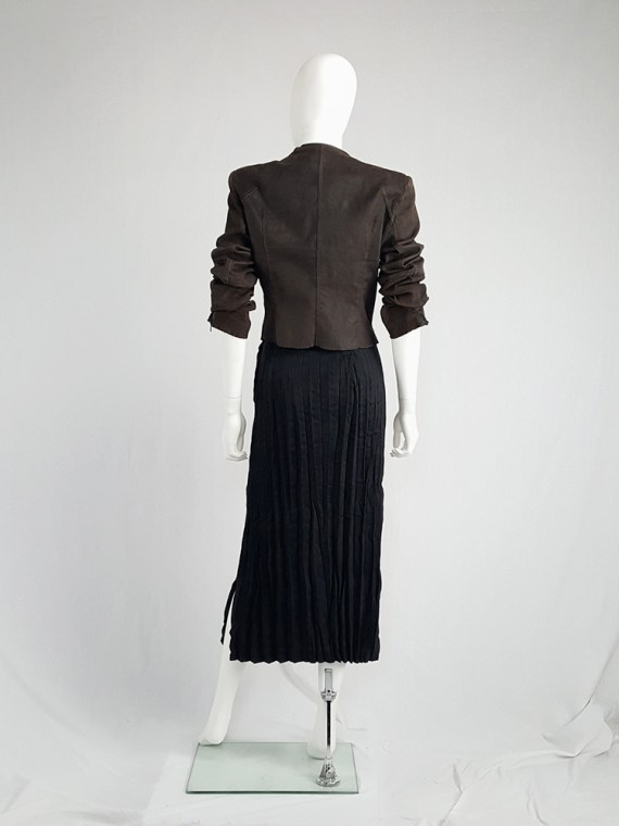 vintage Issey Miyake Fete black suede pleated maxi skirt 130723