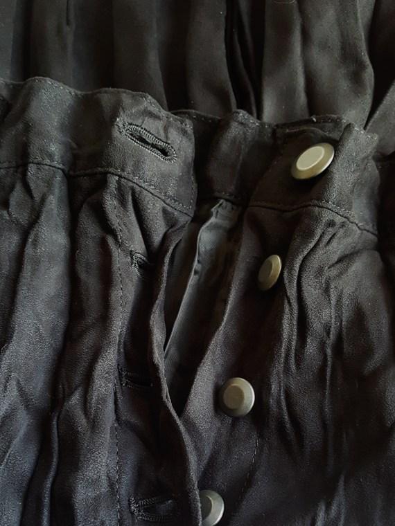 vintage Issey Miyake Fete black suede pleated maxi skirt 165913