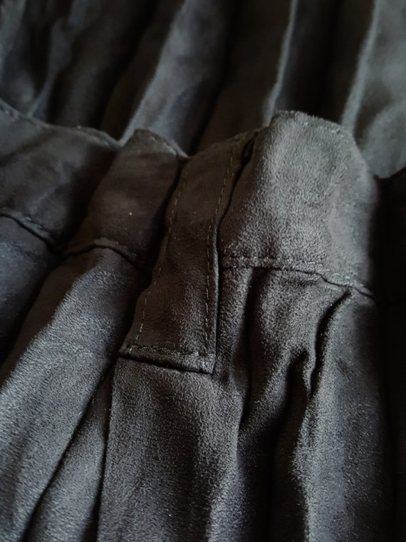 vintage Issey Miyake Fete black suede pleated maxi skirt 165941
