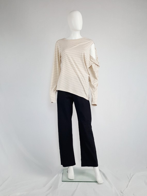 vintage Maison Martin Margiela beige striped sideways worn jumper spring 2005 140839