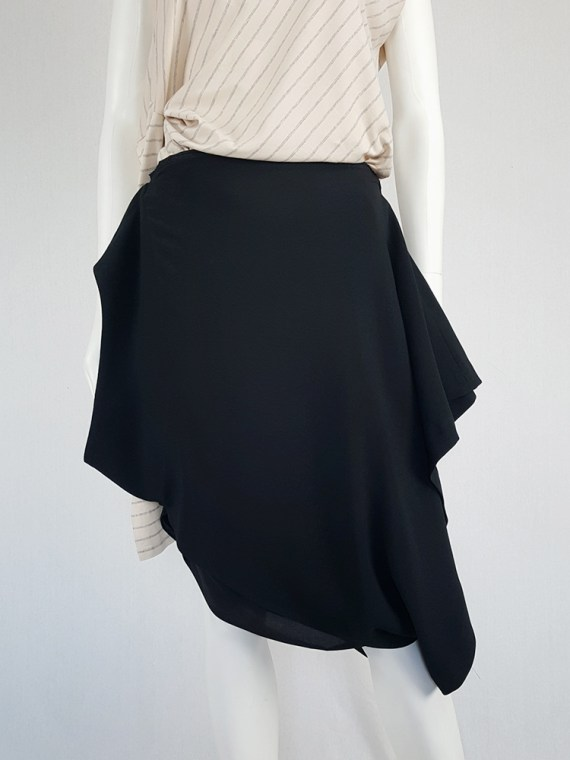 Maison Martin Margiela black sideways-worn skirt — spring 2005