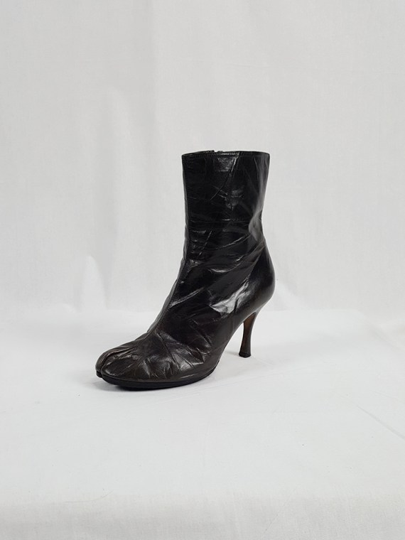 vintage Maison Martin Margiela brown tabi boots with stiletto heel spring 2007 224146