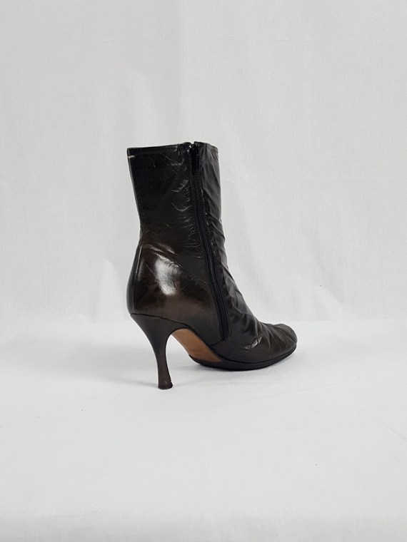 vintage Maison Martin Margiela brown tabi boots with stiletto heel spring 2007 224230